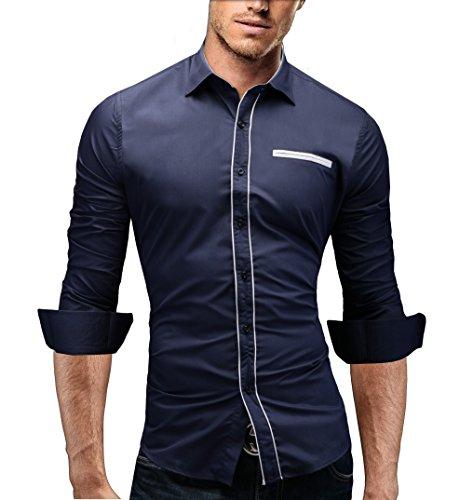 Merish Herrenhemd Hemd Slim-Fit 4 Farben Größen S-XXL Trend Neu 91 Dunkelblau