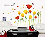 #6: UberLyfe Tulips and Flowers Wall Sticker (Wall Covering Area: 100cm x 170cm) - WS-000446