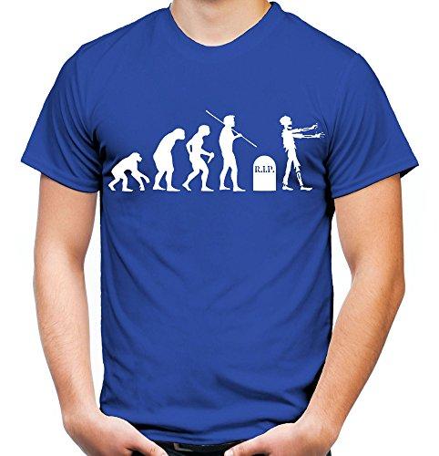 Evolution Zombie Männer und Herren T-Shirt | Kostüm Kleidung Geschenk (M, Blau)
