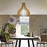 Hängelampe Pendelleuchte verstellbar Große Durchmesser 60cm Höhe 2Meter Design Modern Holz Ahorn Glas weiß satiniert Chrom satiniert Esszimmer Esstisch Küche Wohnzimmer Shop Showroom EG 51269Sophie Lighting