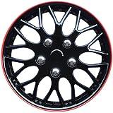 AutoStyle KT970-IB Plus R   Set Missouri Ice Negro/Red Rim - Tapacubos (4 unidades)