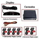 Fologar 6 Sensores Aparcamiento Rojos con Display y Pantalla 4 Traseros y 2 Delanteros