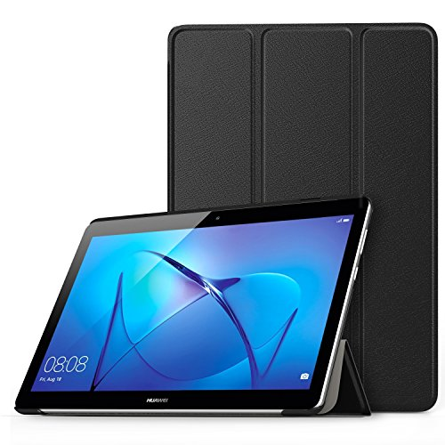 MoKo Etui Huawei MediaPad T3 10 - étui à Rabat avec Support Ultra-Mince et Léger Coque Housse pour Tablette Huawei MediaPad T3 10 (9.6 pouces) 2017, Noir