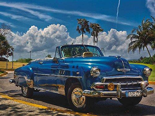 Artland Qualitätsbilder I Wandbilder Selbstklebende Premium Wandfolie 120 x 90 cm Fahrzeuge Auto Foto Blau C8XE Havanna Flair Sonne