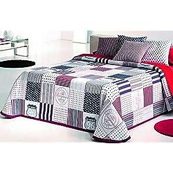 COTTON ART- Colcha PIQUE Infantil - Juvenil Mod. KENDALL ROJO cama de 105 ( 200 x 260 cm)- REVERSIBLE - 50% ALGODÓN-50% POLIÉSTER