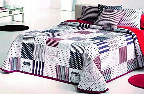 COTTON ART- Colcha PIQUE Infantil - Juvenil Mod. KENDALL ROJO cama de 90 ( 180 x 260 cm)- REVERSIBLE - 50% ALGODÓN-50% POLIÉSTER