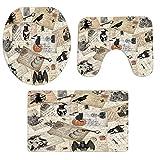 Wawer 3 STÜCKE Halloween Badezimmer Rutschfeste Sockel Teppich + Toilettensitzabdeckung + Badematte Set (B)