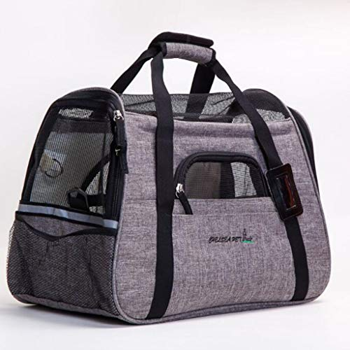 Tragbare kationische Heimtierbedarfsartikel One-Shoulder-Breathable Cat Litter Kennel Grid Travel Boarding Pet Bag (Farbe : Dunkelgrau)