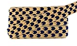 #6: Thread and Kundan Rhinestone Wide Lace Border for Saree Lehenga and Decorations (Pack of 9 Meters) (Navy Blue)