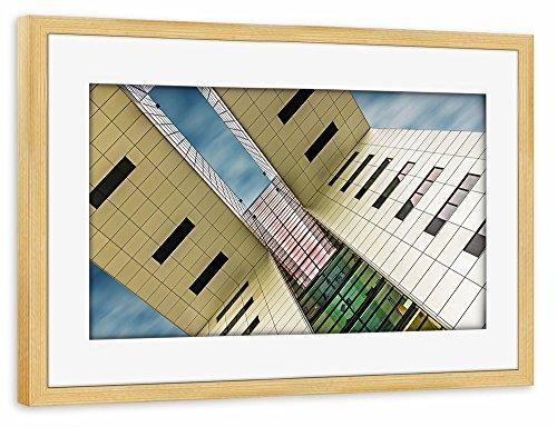 artboxone-poster-mit-rahmen-75x50-cm-architektur-gen-himmel-i-beige-gerahmtes-poster-kiefer-wandbild