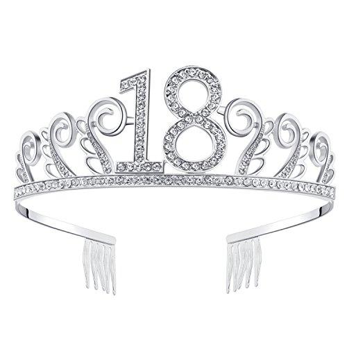 burtstag Tiara Birthday Crown Prinzessin Geburtstag Krone Haar-Zusätze Silber Diamante Glücklicher 18/20/21/30/40/50/60 Geburtstag (18 Jahre alt Silber) (Geburtstag Prinzessin Krone)