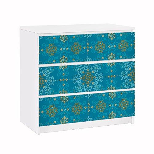 Apalis 91723 Möbelfolie für IKEA Malm Kommode Orientalisches Ornament Türkis, größe 3 mal, 20 x 80 cm -