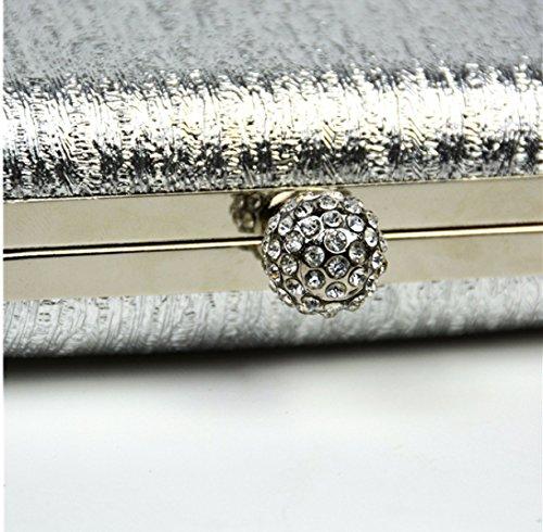 Borsa Donna Mini Glitter Rivestita In Tessuto Rigido Con Cinturino A Catena In Lega Di Moda Frizione A Mano Nera