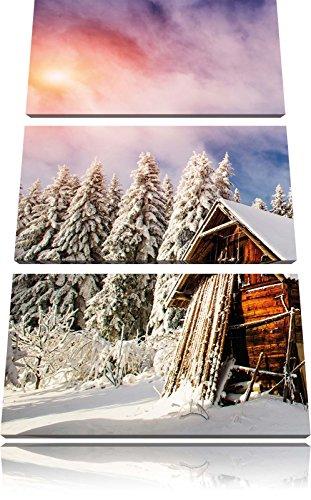 Log Cabin in immagine la neve 3 pezzi picture tela 120x80 su tela, XXL enormi immagini completamente Pagina con la barella, stampe d