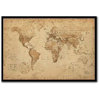World map poster ye old parchment cork pin memo board black framed world map poster ye old parchment cork pin memo board black framed 965 x 66 gumiabroncs Image collections