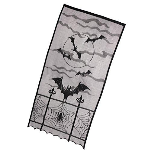 MagiDeal Halloween Deko Vorhang für Fenster Fledermaus Horror Motiv mit Fledermaus Grusel Deko Wand Verkleidung Halloween Gothic Style