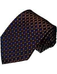 LORENZO CANA - Cravate en soie italienne 100% soie bleu marron doré carreaux à pois 12029