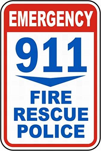 Emergency 911 Targhe in Metallo Parete Segnale di Avvertimento Giardino Bar Ristorante Partito Figura Band Matrimonio Natale Regalo