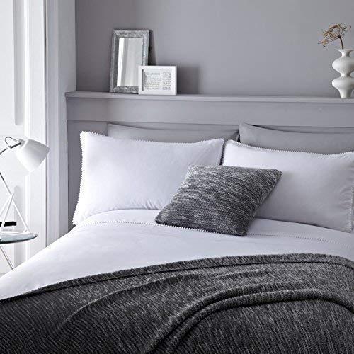 Weiß Baumwoll-Mischgewebe mit Biesen Pom Pom Super King Tröster, Bettbezug (Weiß Tröster Set King)