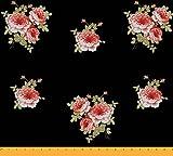 Soimoi 42 Zoll breit Craft mit Blumenmuster Viskose Chiffon Nähen Stoff 55 GSM Per Meter-Schwarz