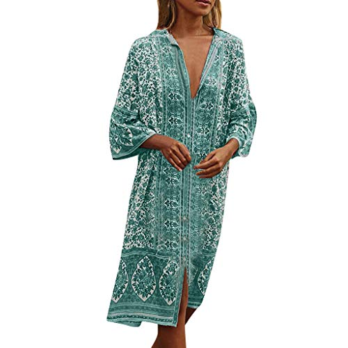 Kleid Damen Kolylong Frauen Vintage V-Ausschnitt Drucken Kleid Lang Retro Langarm Kleider Boho Strandkleid Loose Maxikleid Sommer Cocktails Party Abendkleid -
