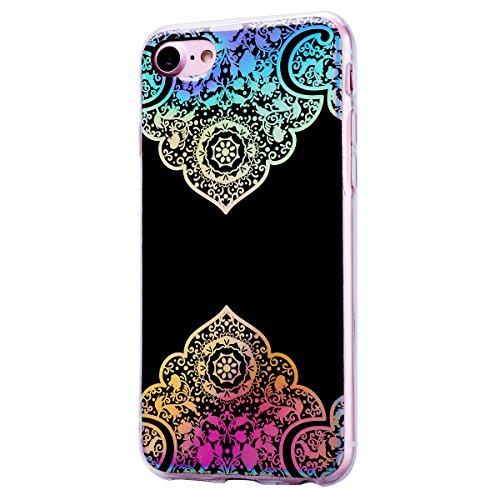 GrandEver iPhone 7 / iPhone 8 Glitzer Hülle Silikon Handyhülle Gel TPU Bumper Bunt Mandala Schutzhülle Schwarz Handytasche Anti-Kratzer Rückschale Ultra Dünnen Soft Case Cover - C A
