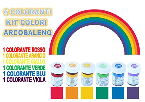 6 coloranti colori arcobaleno wilton kit cdc (rosso, arancio,giallo , verde, blu , viola)