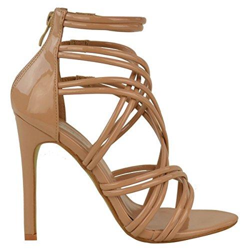DONNE tacco a spillo alto con spalline Cinturino alla caviglia da sera sandali scarpe numero Mocha marrone VERNICIATA