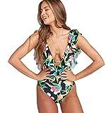 Trajes de Baño Mujer Bañador Vientre Plano Escote V Una Pieza Bañadores Playa Natacion Mujer con Volantes Bikinis de Flores con Relleno Monokini Bikini Triangulo Push Up Señora Enteros Biquini M