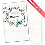 Mutter-Kind-Pass Hülle 3-teilig Blumenkranz Schutzhülle Geschenkidee personalisierbar mit Namen (MuKi-Pass Österreich personalisiert, Schmetterling)