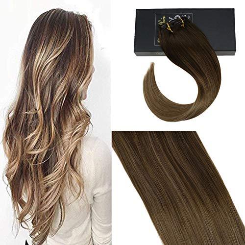 Sunny extension capelli clip veri - double weft 20pollici/50cm balayage marrone con biondi, capelli veri clip in, set 120g/7pcs