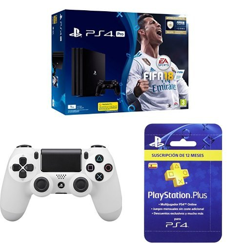 PlayStation 4 Pro (PS4) - Consola de 1 TB + FIFA 18 + Sony - Dualshock 4 V2 Mando Inalámbrico, Color Glacier White (PS4) + Sony - Tarjeta PSN Plus Para 365 Días - Reedición (PS4)