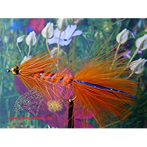 "Streamer "" Wooly Bugger Orange Bead Head "" 3er Set Hakengröße 6"