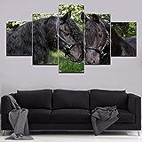 Mddrr Wandkunst Leinwand Gemälde Modular Home Dekorative Hd Drucke 5 Stücke Tier Schwarz Pferd Bilder Poster Wohnzimmer Rahmen