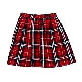 Xmansky Frauen-Mädchen-Schottland-Plaid-Karo-Schuluniform-Faltenrock, Mode-Sommer-Baumwollschottenstoff-Mini Skirs (S, Rot)