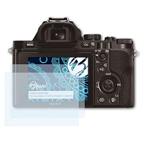 Bruni Schutzfolie kompatibel mit Sony Alpha a7 & a7R & a7S ILCE-7 / ILCE-7R / ILCE-7S Folie, glasklare Displayschutzfolie (2X)