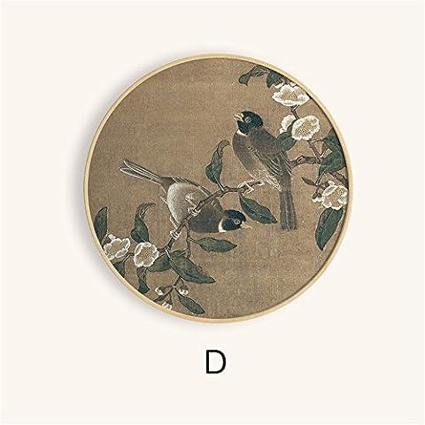 FUXINGXING Circulaire en bois Restaurant Oiseaux Circle animation Chambre Salon chinois respectant les peintures abstraites sont suspendus, devrait 50cm,D