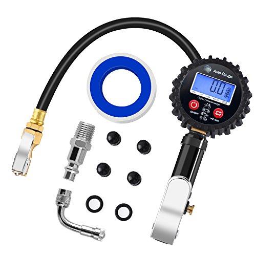 Manómetro de Neumáticos, PullPritt 200 PSI Manómetro Digital con Pantalla LCD Extensor de Válvula de 90 Grados para inflar carro coches bicicletas y motocicletas