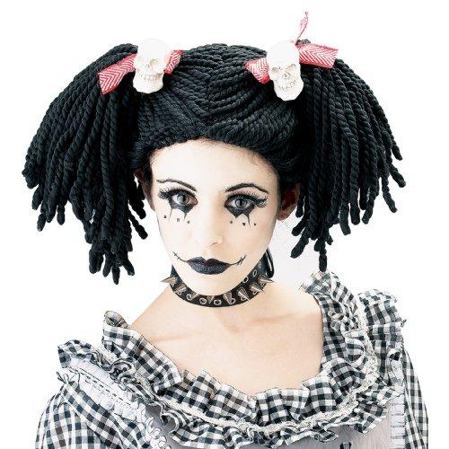 thic Rag Doll Perücke Kostüm, schwarz/rot, Einheitsgröße (Damen-scary Doll-kostüm)