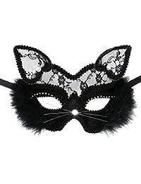 Cusfull Masque Classique Mystérieux Sexy Dentelle Masque de Chat Femme Masque Venitien pour Déguisements Soirée Halloween Noël Carnaval-Déesse
