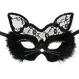 Cusfull Masque de Mascarade Sexy en Dentelle Masque de Chat Femme Masque Venitien pour Déguisements Soirée Halloween Noël Carnaval-Déesse