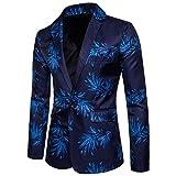 Sliktaa Sakko Herren Modern Blazer Mit Blumenmuster Flacher Kragen Einreihige Knopfleiste Anzugjacke Blau XX-Large
