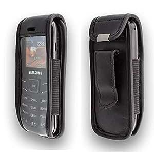 caseroxx – Housse de téléphone portable à clip pour Samsung GT E-1200 Keystone 2 en Cuir veritable – Housse de protection à porter à la ceinture (coloris noir avec fenêtre transparente antisalissure)