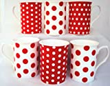 Red Dots & Spots Mugs Fine Bone China Mugs Set of 6 Hand Decorated in the UK Free UK Delivery
