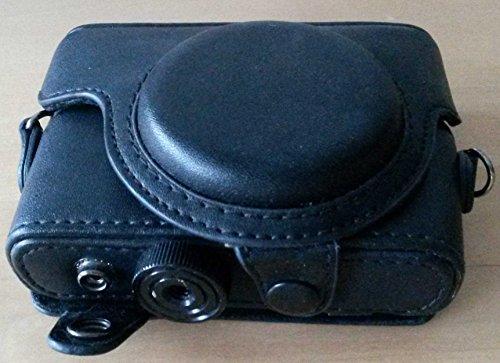 PU Leder Kameratasche f. Sony Cyber shot RX100 RX 100 Kamera Etui Hülle schwarz Fixfokus Objektiv