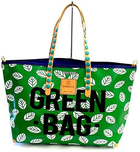 GABS - Gabsille, Borsa con Maniglia Donna Stamp Astratto Green Bag