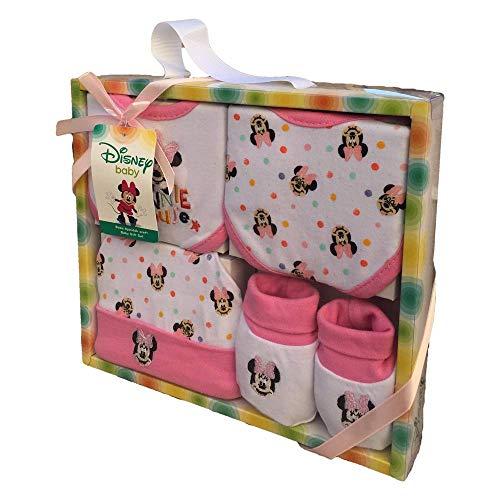 SET NEONATA Minnie Mouse Disney - Scarpine, Cappello E 2 Bavaglini in Cotone - Confezione Regalo Bambina - MIN 1402