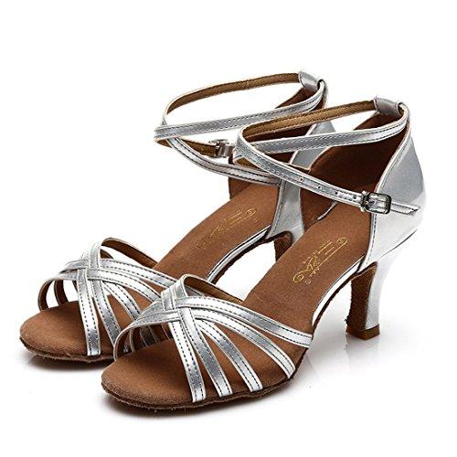 WXMDDN Donna di ballo latino argento scarpe scarpe da ballo 7cm scarpe con i tacchi alti in ballo, morbido fondo di in-house di Scarpa danza Argento 7cm
