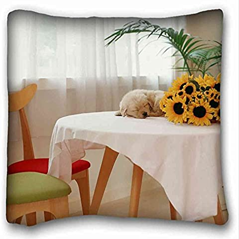 Generic personalizado (animales Girasoles Puppys atable) Popular 16 x 16 (One Side Pizza rectángulo de la funda de almohada apto para king-bed pc-red-2343