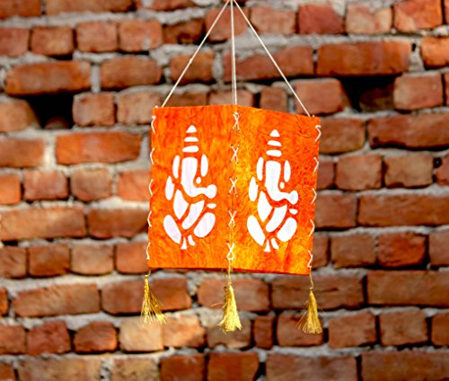 Brahmz Paper Handmade Hanging Paper Handcrafted Colored Lamp Shade Decoration for Home Garden parties (Orange Ganesh)
